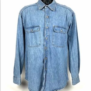 Gap Mens Jean Chambray Denim Long Sleeve Shirt